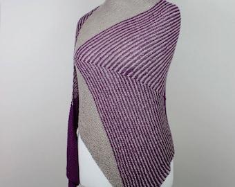handknit purple beige shawl, asymmetrical alpaca silk triangle wrap, oversized stipes shawl