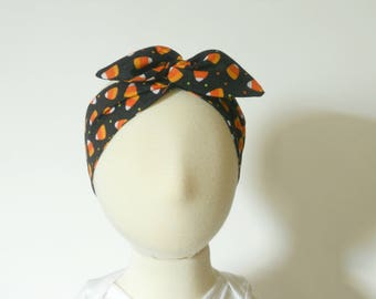 Halloween Fall Candy Corn Baby Toddler Wired Headband, Halloween Kid's Wired Headband, Baby Turban Headband, Baby Toddler Dolly Bow