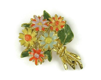 Vintage Multi Color Enamel Flower Bouquet Brooch