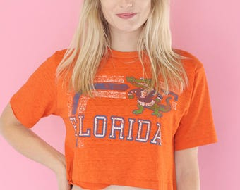 Vintage 80's College Florida Gators Cropped Tee Shirt / Vintage College Florida Gators Football Tee shirt / Cropped Graphic Tee