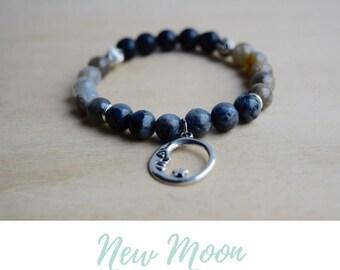 New Moon Bracelet / boho bracelet ideas, moon phase, wife magical jewelry, good vibes only, yoga jewelry women, everyday bracelet