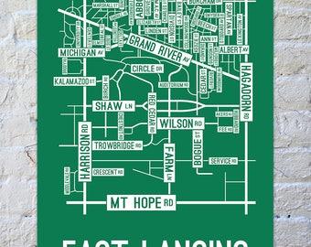 East Lansing, Michigan Street Map Screen Print