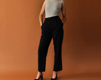 High Waist Trousers, Vintage Black Trousers, Loose Fit Tapered Leg Pants, Tapered Trousers, Minimal Trousers, Womens Pants Size 4