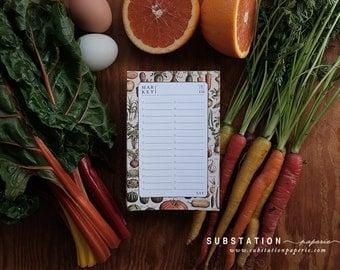 Market list - grocery list - Harvest Notepad - grocery notepad - grocery notepad - Vintage Artwork - List - Notepad - Farmers Market List