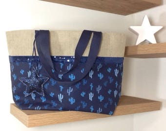 Linen shopping bag, printed cactus and navy blue spangles
