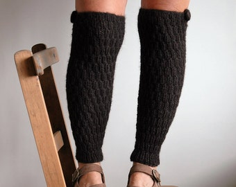 Brown alpaca leg warmers / soft wool leggings / fitted ribbed leg warmers / handmade button trim