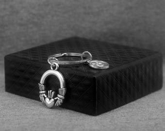 Silver Claddagh Key chain -Irish -Celtic Knot Keychain -Initial Keychain -Your Choice of A to Z