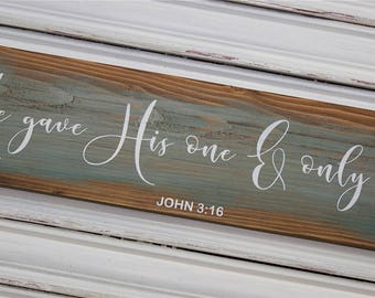 Scripture Wall Art, John 3:16, Bible Wood Sign, Scripture Wooden Sign, He Gave His Only Son Sign, Farmhouse Style, Teal, Rustic, Primitive