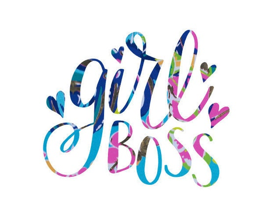 Free Shipping-Exotic Garden Lilly Pulitzer Girl Boss Decal,Girl Boss,Mom Decal, Self-Employed, Working Mom, Yeti RTIC Decal Sticker,wife mom
