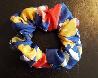 Scrunchie - Blue with Floral Print