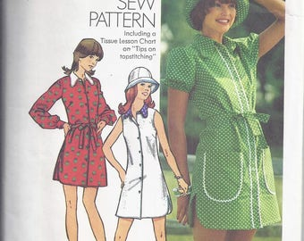Simplicity 5463  Vintage Pattern from 1972.  Misses Mini Dress, and Hat.  Bust 34