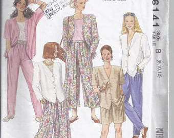 McCall's 6141 Sewing pattern from 1992  Misses Top, Split Skirt and Pants  Bust 31 1/2-34 UNCUT