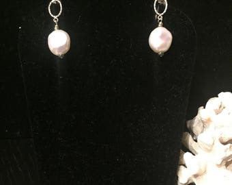 White Pearls and Silver Earrings