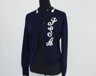 Vintage 50s 60s Womens Small or Medium Navy Blue Collegiate Monogrammed Cardigan Sweater
