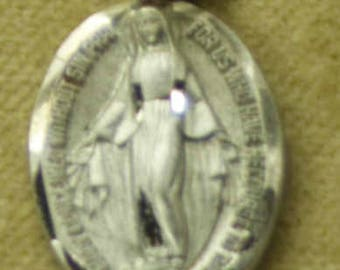 Collectable Sterling Miraculous Mother Mary 1830 Religious Pendant With Chain