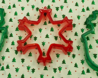 Vintage 3 Pc. Transparent Red And Green Christmas Cookie Cutters