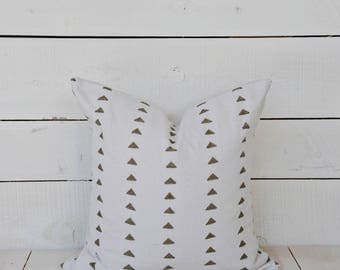 Mud cloth  style pillow cover, triangles in tarnished gold