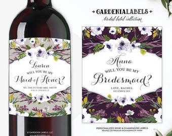 Will You Be My Bridesmaid Wine Labels, Bridesmaid Proposal Wine, Bridesmaid Box Idea, Ask Maid of Honor, Thank You Gift, Wedding Wine Label