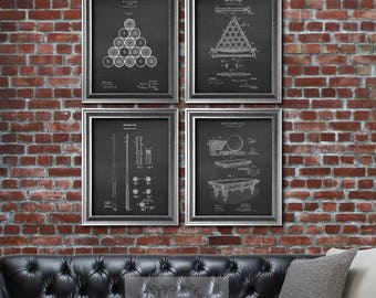 Billiards decor set of 4 art prints Pool Decor Billiards balls Pool Table Billiard table, Billiard Cue art prints Billiards gifts for him