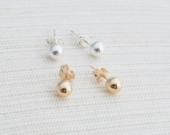 9ct Yellow Gold or Solid Sterling Silver ball earrings, ball earrings, stud earrings.