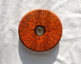 Vintage or Antique Chinese Feng Shui Compass - Hand Made and Painted Wood Lo Pan Compass - Asian Sextant Tool