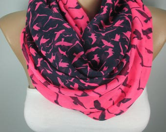 Valentines Gift Bird Scarf Cotton Scarf Neon Pink scarf Pareo Scarf Women Accessories Christmas Gift For Her For Women Gift For Mom