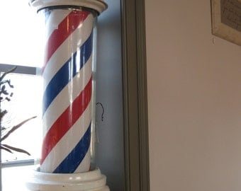 Kochs Company Barber Pole, lighted stripe chamber and globe, working turn mechanism