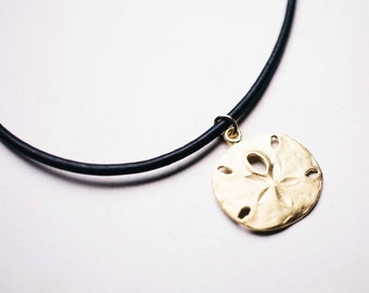 Vermeil sand dollar choker, Chokers, sand dollar charm, leather choker, 24k gold plated, Sterling silver, Gold necklace
