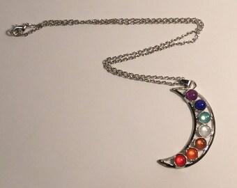 Reiki Energy Healing Chakra Balancing Crescent Moon Necklace
