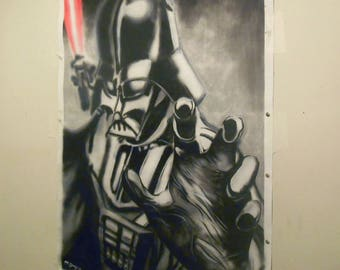 "2.5ft x 2ft Starwars original artwork.Spray Paint-Pastel-Acrylic.Canvas roll.""Vader Blur"""