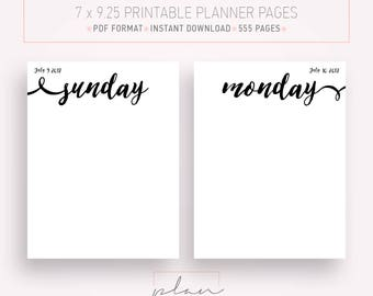 Printable 2017 - 2018 inserts, Suitable for Mambi planner, Daily Planner, Mambi Inserts, Day per page, Fit Mambi Happy planner