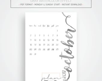 2017 - 2018 Printable Wall calendar, Wall planner, A3 Calendar, Grey Watercolor, Minimal calendar, Instant download, Printable wall planner