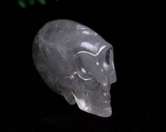 Natural Quartz  Crystal Carved Skeleton,Healing Skull,Pretty Mysterious Crystal Skull J874