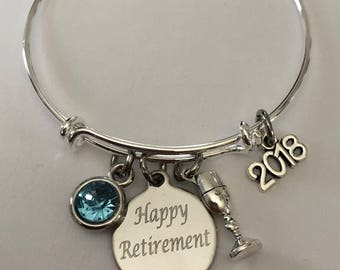 retirement bracelet-engraved happy retirement bracelet-2018 retirement bracelet