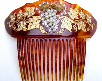 Victorian hair comb with faux pearl grapes hair accessory headdress headpiece decorative comb hair accessory