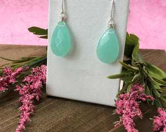 Aqua Chalcedony and Sterling Silver Drop Earrings