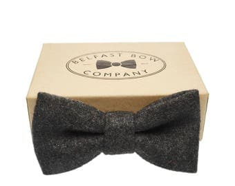 Handmade Wool Blend Bow Tie in Slate Grey - Adults & Boy's sizes Available