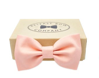 Handmade Bow Tie in Pale Peach - Adult & Junior sizes available