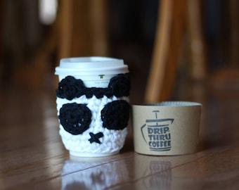 Crochet Custom Panda Coffee Cozy // To Go Vegan Panda Coffee Cup Cover // Panda Lover Gift // AOII Alpha Omicron Pi Gift