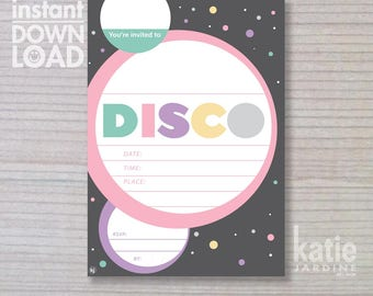 instant invitation - Disco invitation - girls invitation - Disco - childrens invitation  - Disco party - downloadable