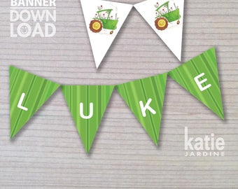 banner - birthday banner - kids party banner - tractor banner - printable banner - chickens - personalised banner - tractor