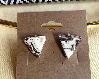 Marbled Triangle Stud Earrings