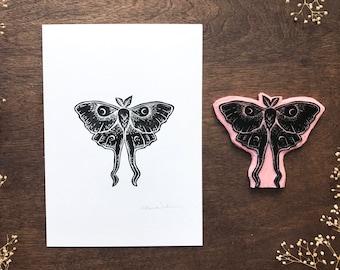 Hand printed Luna Moth   5 x 7 Print