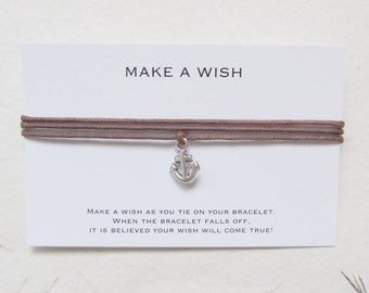 Wish bracelet, make a wish bracelet, friendship bracelet, anchor bracelet, W55