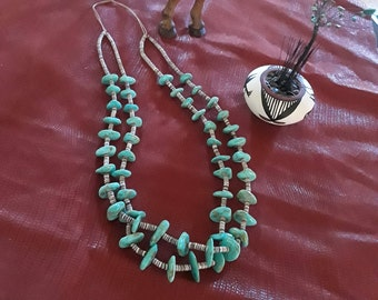 Native American natural turquoise two strand long necklace