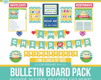 2018 LDS Primary Theme Bulletin Board Printable Kit - I am a child of God - Sun Theme - MB