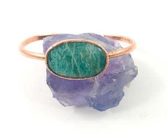Raw Stone Bracelet, Amazonite Cuff, Raw Crystal, Electroformed Cuff, Copper Bangle, Green Gemstone, Healing Stone