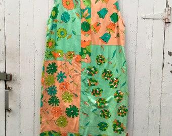Vintage Peach Mint Shift Mod Dress  psychedelic Hawaiian Style 60s 70s