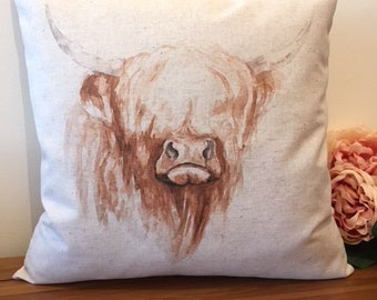 Highland Cow Cushion, Highland Cow Pillow, Boutique Style, Scottish Style, Homestyle, Feature Cushion, Scatter Cushion