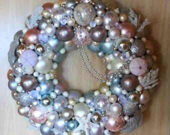 Keepsake Ornament Wreath - Pastel Holiday Wreath,  Ornament Wreath, Christmas Ball Wreath